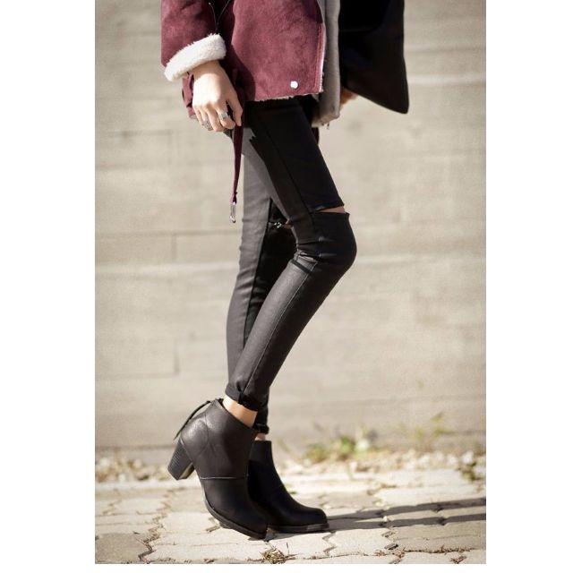 韓國DAHONG 緊身光澤感牛仔褲 拉鍊造型 皮褲 SIZE:M