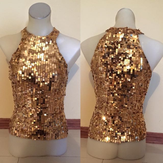 Gold Squared Sequenced Top