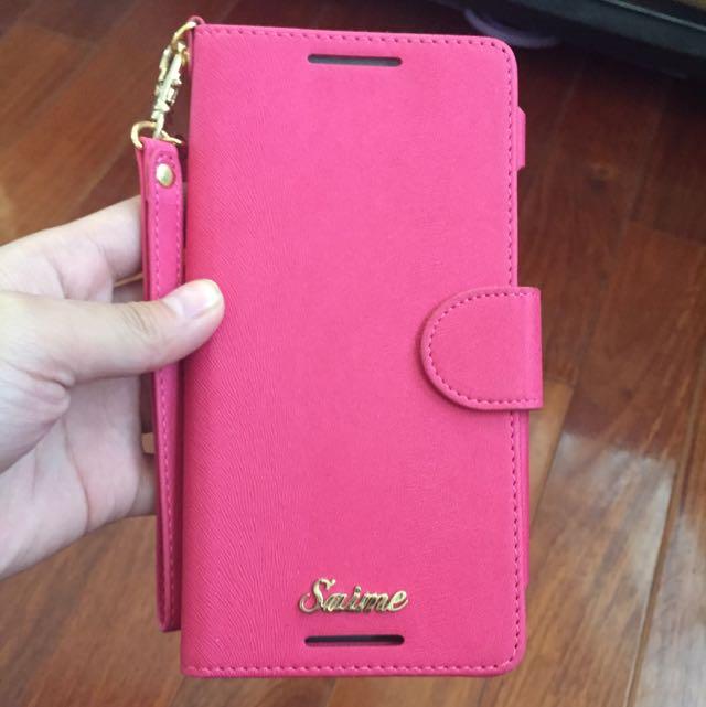 HTC ONE MEX 粉紅色皮套 含運費