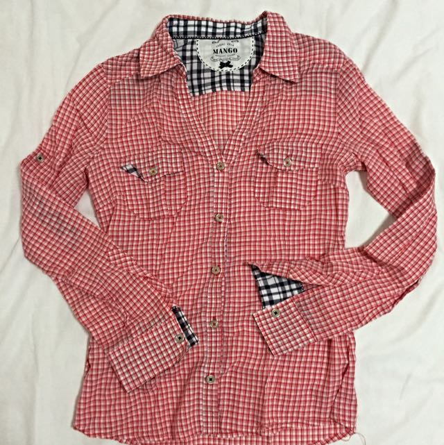 Mango - Checkered Long Sleeve Blouse (Pre-loved)