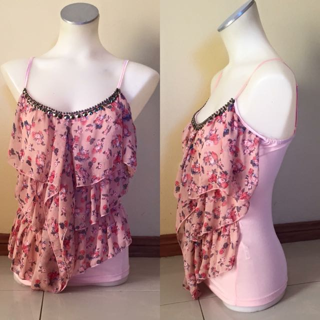 Peach Coloured Floral Layered Singlet With Chest Beads