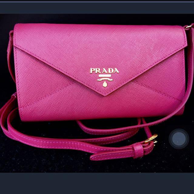 9290153d1ebb PRADA Dark Pink Saffiano Leather Envelope Wallet On Chain WOC ...