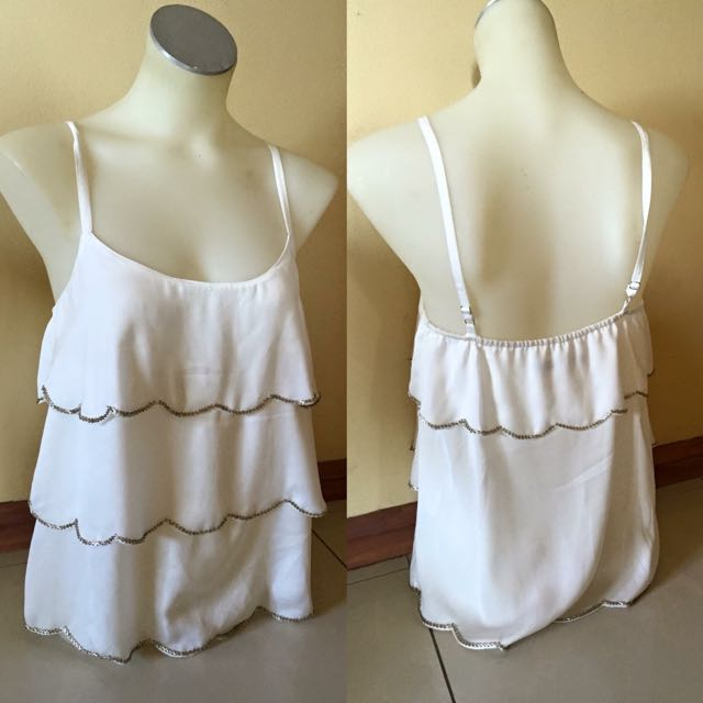 White Layered Singlet With Beads