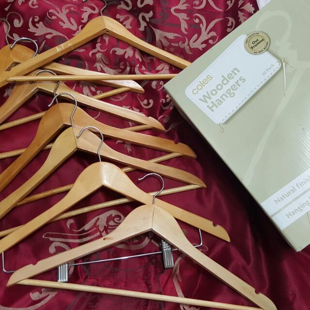 Wooden Mixed HANGERS From Coles With Natural Finish And Hanging Bar