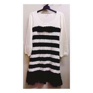 【日本帶回】全新條紋粗針織拼接雪紡裙擺長版毛衣