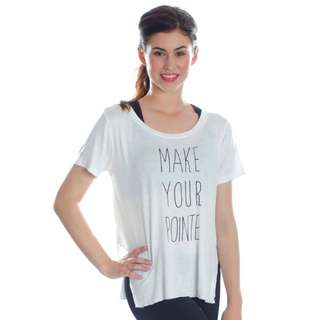 BNWT Covet Dance Wear Make Your Pointe Side Slit Tee