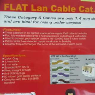 Lan Cable 7m Long . Cat 6 . .  Flat Thin Type .