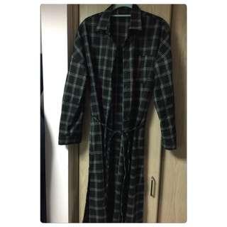✨merrier Q長版格紋黑洋裝外套✨