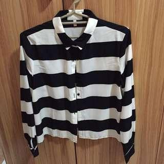 韓製 質感 黑白條紋 襯衫