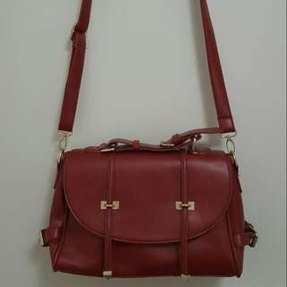 Red/maroon  Leather Shoulder Bag