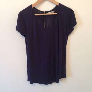 Zara Blue Blouse T- Shirt Sz S