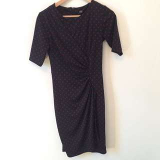 Sz 8 Corporate Dress Spot Dot Black / Burgandy