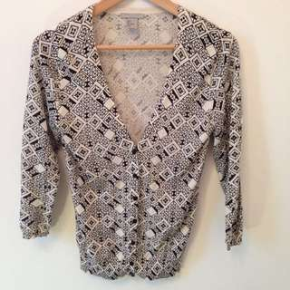 H&M Patterned Cardigan Sz S