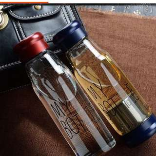 全新My Bottle 耐高溫玻璃瓶420ml紅色送杯套