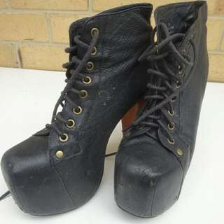 Sz 6 Black Jeffrey Campbell Lita Heels - Much Loved As You Can See :/