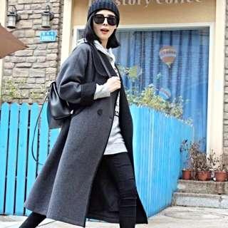 DR.AZHU 90%羊毛灰黑長款大衣 羊毛外套 韓