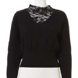 (保留中)Snidel黑色蕾絲小高領純棉上衣超柔軟