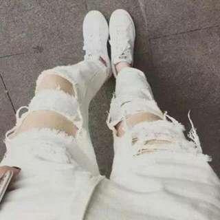 破褲 刷破褲 男友褲 牛仔褲 顯瘦 女褲