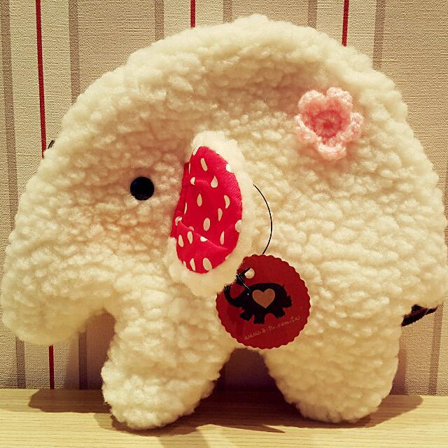 【售】全新大象手作萬用包/化妝包(白色)