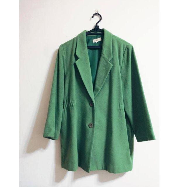 日本古著~綠色羊毛長大衣