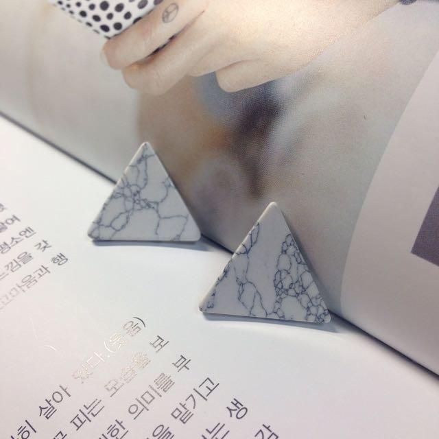 韓🇰🇷大理石三角耳環