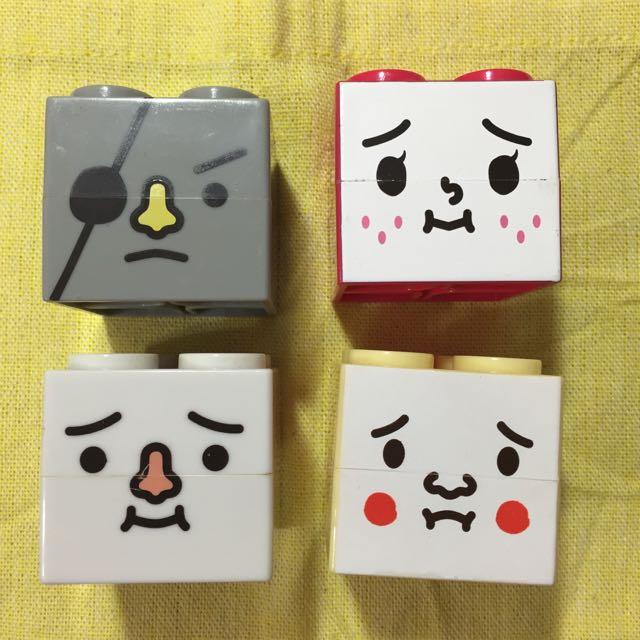 絕版轉蛋 豆腐人置物盒 疊疊樂 積木