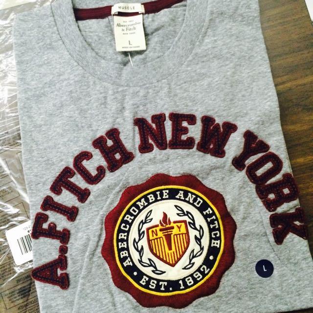 [全新/美國代購/含稅含運]A&F Abercrombie & Fitch 男生 短袖T恤 T-shirt 灰色