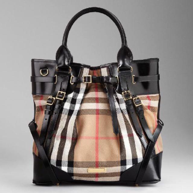 Burberry Medium House Check Bridle Leather Tote Bag e79316b5e953f