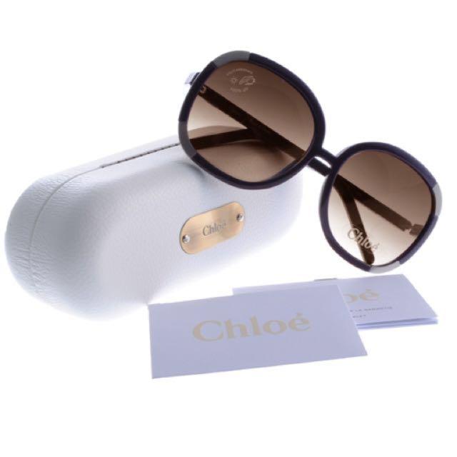 CHLOE 全新品牌時尚圓形墨鏡-紫