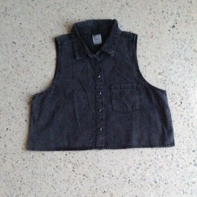H&M Cropped Dark Denim Shirt
