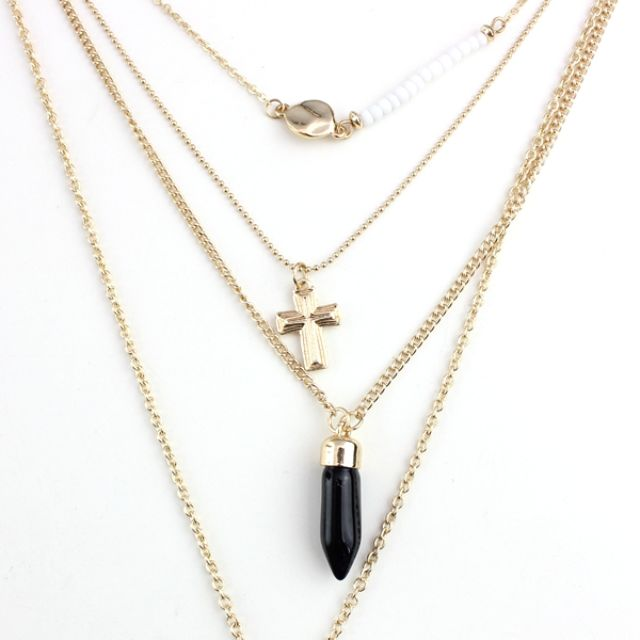 Multi Layered Chain Necklace on Wholesale - EN-038