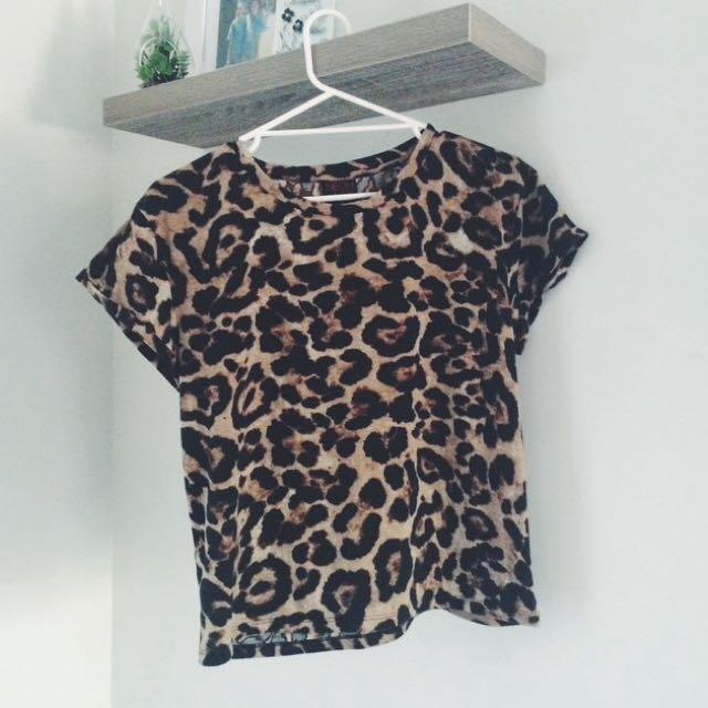 Neon Hart Leopard Print Tee