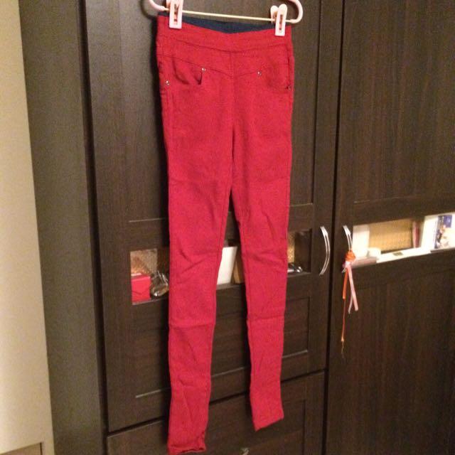 QUNEE PUNCH冬季紅色內搭褲S