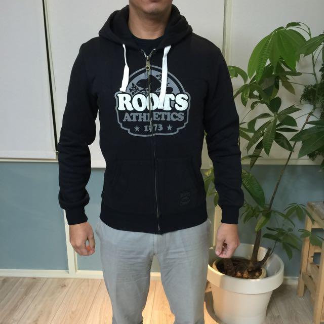 全新正品Roots 男生海貍植絨棉質連帽外套 黑色