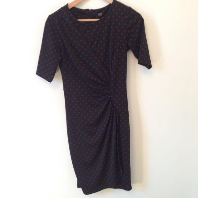Sz 8 Corporate Dress Spot Dot Black / Burgandy
