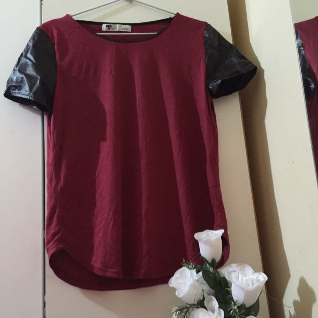 temt shirt with pleather sleeves