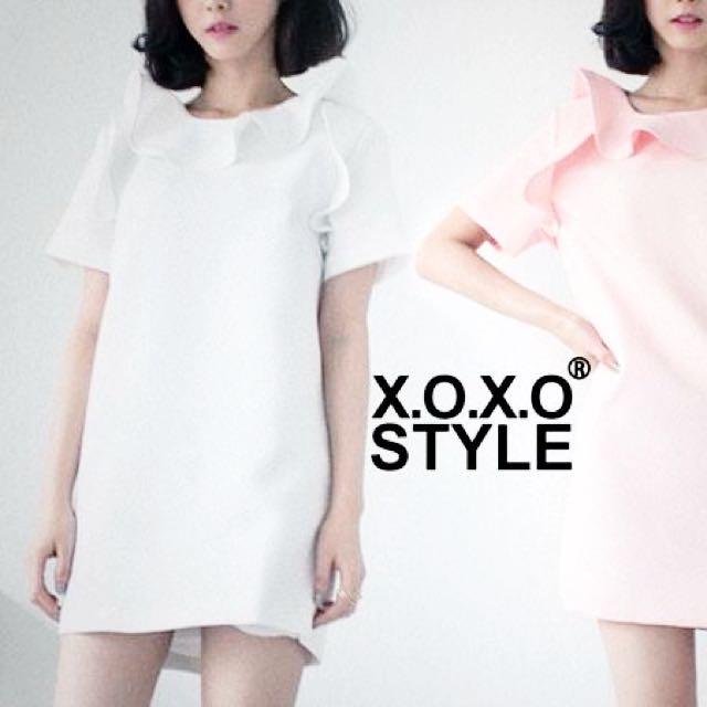 全新含運🌙X.O.X.O大花邊領格紋棉料短袖洋裝