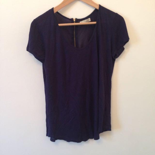 Zara Blue Blouse T- Shirt Sz S