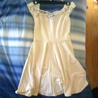 NEW LOOK White Lace Skater Dress