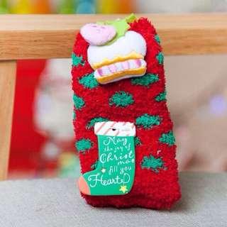 《現貨》聖誕珊瑚絨立體親子襪組~蛋糕