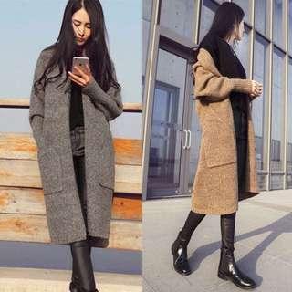 【Yangirl】韓國流行冬季長版冷色系針織大衣外套