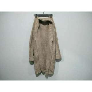 (特價)日本_淺咖啡灰長版針織毛衣開襟外套