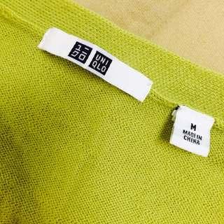 近全新❤️Uniqlo純羊毛芥末綠針織外套