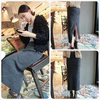 【Yangirl】韓風修身針織開叉包臀半身裙