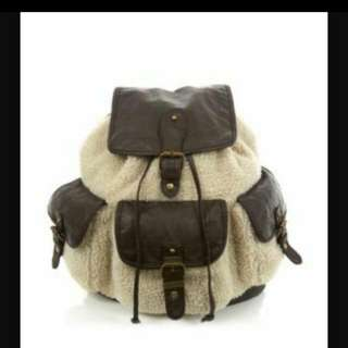 Newlook Back Pack In Faux Sheep Fur