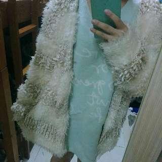 (降)正韓 白色金蔥華麗毛海開襟外套