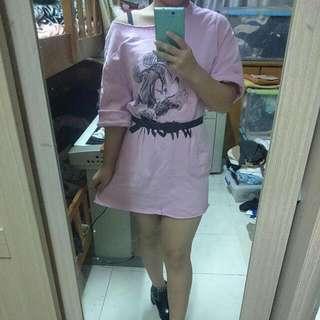Marry Go Round 粉紫米奇不修邊長版上衣/洋裝