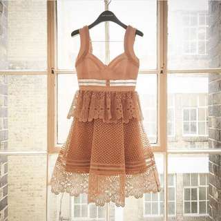 Self Portrait Tiered Lace Dress UK 10 12 #Easter40
