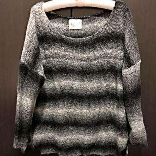 白灰黑條紋漸層寬領毛衣
