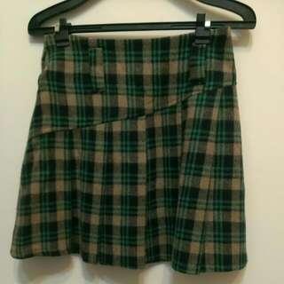 秋冬綠色格子及膝裙